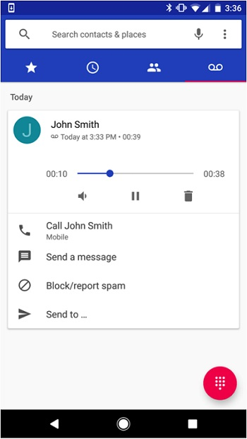 Android phone app voicemail screen